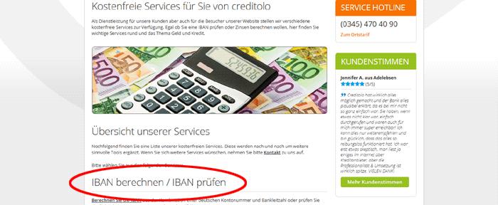 Die creditolo Services starten mit IBAN-Rechner und IBAN-Prüfer