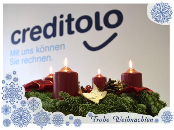 Fröhliche Weihnachtstage und einen gutgelaunten Rutsch ins neue Jahr wünscht das gesamte creditolo Team.