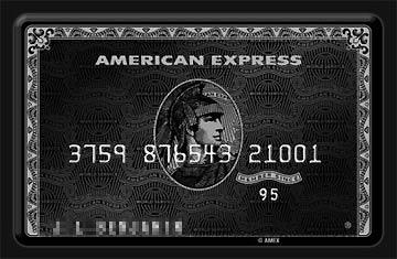 Da ist sie, die legendäre schwarze Amex Kreditkarte.