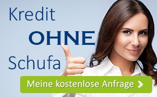 Button zur Kreditanfrage ohne SCHUFA Auskunft, Frau mit bewilligtem Kredit ohne SCHUFA Auskunft