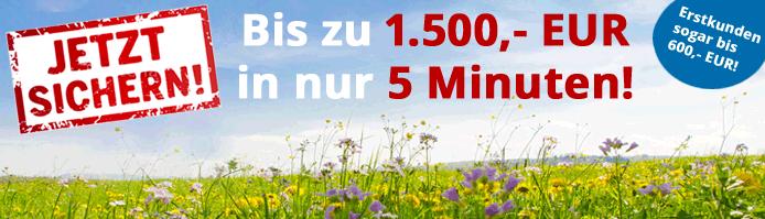 Nutzen Sie Ihre Chance und leihen Sie sich jetzt schnell und unkompliziert bis zu 1.500 Euro für bis zu 60 Tage. Erstkunden sogar schon bis zu 600 Euro.